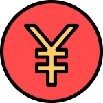 The symbol of the Chinese yuan, to help demonstrate the idea of cash versus credit cards in China.